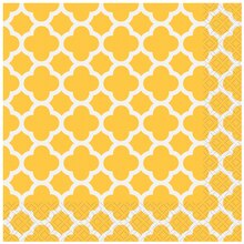 Yellow Quatrefoil Luncheon Napkins, 16ct
