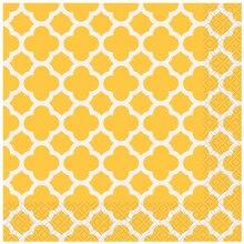 Yellow Quatrefoil Luncheon Napkins, 16ct