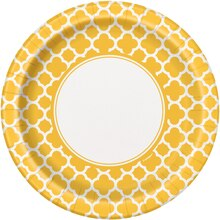 "9"" Yellow Quatrefoil Dinner Plates, 8ct"
