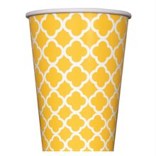 12 oz. Yellow Quatrefoil Paper Cups, 6ct