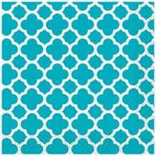 Teal Quatrefoil Cocktail Napkins, 16ct