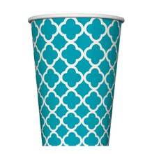 12 oz. Teal Quatrefoil Paper Cups, 6ct