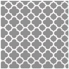Silver Quatrefoil Cocktail Napkins, 16ct
