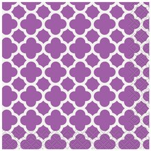 Purple Quatrefoil Cocktail Napkins, 16ct