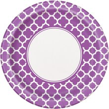 "9"" Purple Quatrefoil Dinner Plates, 8ct"