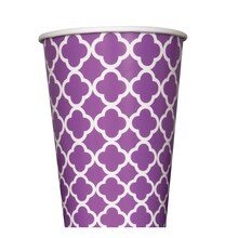 12 oz. Purple Quatrefoil Paper Cups, 6ct