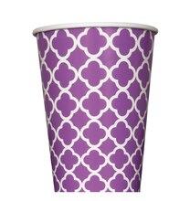 12 oz. Purple Quatrefoil Paper Cups, 6ct