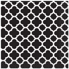Black Quatrefoil Cocktail Napkins, 16ct