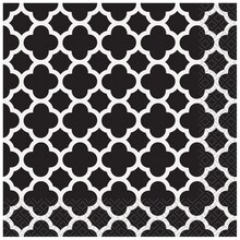 Black Quatrefoil Luncheon Napkins, 16ct