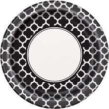 "9"" Black Quatrefoil Dinner Plates, 8ct"