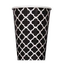 12 oz. Black Quatrefoil Paper Cups, 6ct