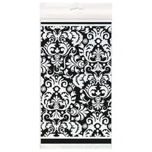 "Plastic Black Damask Table Cover, 84"" x 54"" packaging"