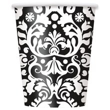 9 oz. Black Damask Paper Cups, 8ct