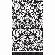 Black Damask Paper Guest Towels, 16ct