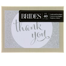Brides Silver Glitter Thank You Cards