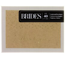 Brides Gold Foil Dot on Kraft Thank You Cards