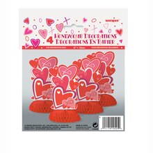 "Mini 6"" Honeycomb Heart Valentine Decorations, 4ct, Package"