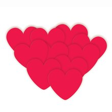Paper Cut Out Red Hearts Decorations, 10ct