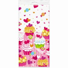 "Plastic Cupcake Hearts Valentine Table Cover, 84"" x 54"""