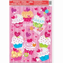Cupcake Hearts Valentine Window Decals