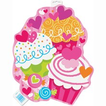 Paper Cut Out Cupcake Hearts Valentine Decoration