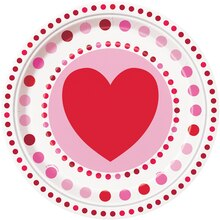 "9"" Radiant Hearts Valentine Dinner Plates, 8ct"