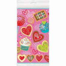 "Plastic Sweet Valentine Table Cover, 84"" x 54"""