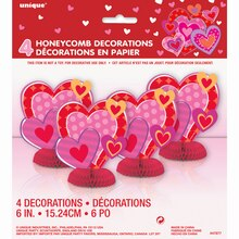 "Mini 6"" Honeycomb I Heart Valentine Decorations, 4ct, Package"