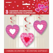 Hanging I Heart Valentine Decorations, 3ct, Package
