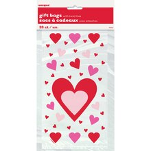 Hearts Valentine Cellophane Bags, 20ct