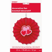 "Valentine Heart Tissue Paper Decorative Fan, 12"", Package"