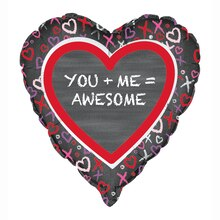 Foil You and Me Valentine Heart Balloon, 18""