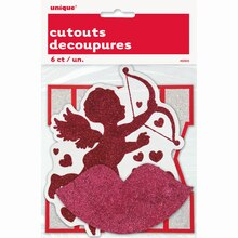 Paper Cut Out Glitter Valentine Decorations, 6ct, Package