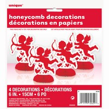 "Mini 6"" Honeycomb Cupid Valentine Decorations, 4ct, Package"