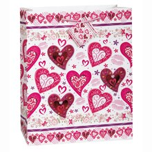 Large Lots of Hearts Valentine Gift Bag