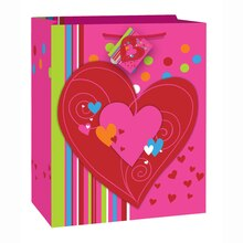 Large Cheerful Hearts Valentine Gift Bag