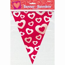 Hearts Afire Valentine Flag Banner, 12 Ft., Package