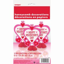 "Mini 8"" Honeycomb Heart Valentine Decorations, 3ct"