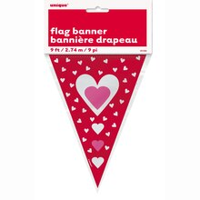 Hearts Valentine Flag Banner, 9 Ft., Package