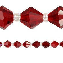 Bead Gallery Faceted Bicone Glass Beads, Ruby, 8 mm, Close Up