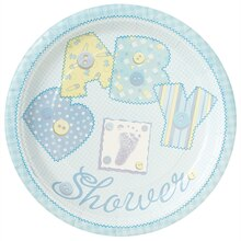 "9"" Blue Cute as a Button Baby Shower Dinner Plates, 8ct"