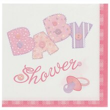 Pink Cute as a Button Baby Shower Beverage Napkins, 16ct