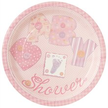"7"" Pink Cute as a Button Baby Shower Dessert Plates, 8ct"