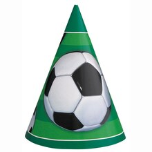 Soccer Party Hats, 8ct