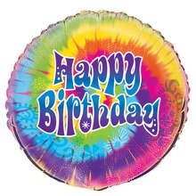 Foil Tie-Dye Birthday Balloon, 18""