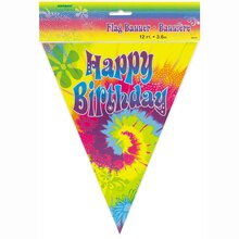 Tie-Dye Birthday Flag Banner, 12 Ft., Packaging