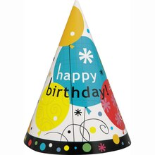 Breezy Birthday Party Hats, 8ct