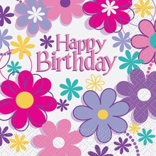 Blossom Birthday Party Beverage Napkins, 16ct