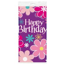 "Plastic Blossom Birthday Party Table Cover, 84"" x 54"", medium"