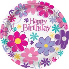 "7"" Blossom Birthday Party Dessert Plates, 8ct"
